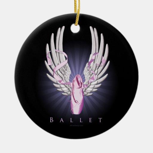 Ballet con alas (danza) adorno navideño redondo de cerámica