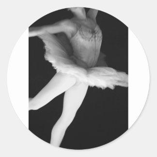 Ballet - Dance - Ballerina 9 - Black & White Classic Round Sticker