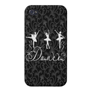 Ballet Dance Brocade Black and White Elegance Covers For iPhone 4