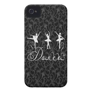 Ballet Dance Brocade Black and White Elegance iPhone 4 Case