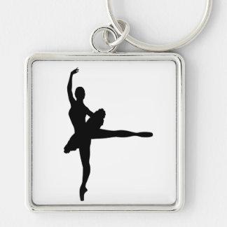 BALLET DANCER Arabesque (Ballerina silhouette) ~ Silver-Colored Square Keychain