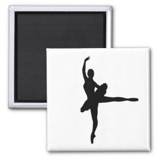 BALLET DANCER Arabesque (Ballerina silhouette) v2 2 Inch Square Magnet