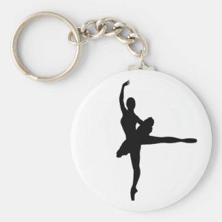 BALLET DANCER Arabesque (Ballerina silhouette) v2 Basic Round Button Keychain