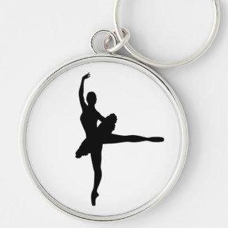 BALLET DANCER Arabesque (Ballerina silhouette) v2 Silver-Colored Round Keychain