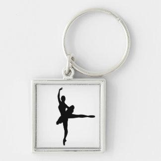 BALLET DANCER Arabesque (Ballerina silhouette) v2 Silver-Colored Square Keychain