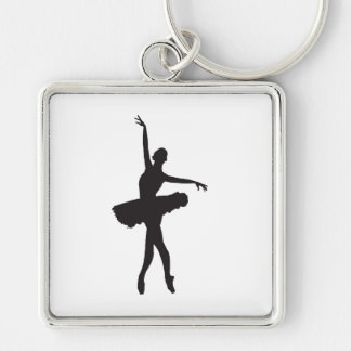 BALLET DANCER (Ballerina silhouette) ~.jpg Silver-Colored Square Keychain