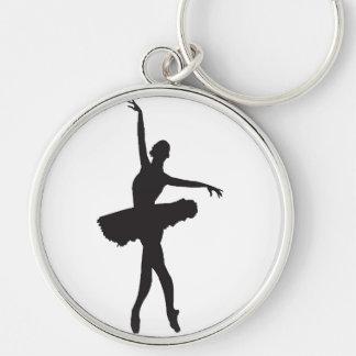 BALLET DANCER (Ballerina silhouette) ~ Silver-Colored Round Keychain