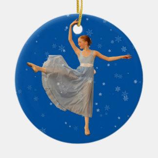Ballet Dancer Christmas Ornament on Blue