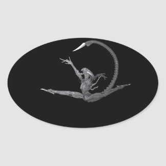Ballet Dancer From Outer Space Oval Stickers