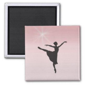Ballet dancer 2 inch square magnet