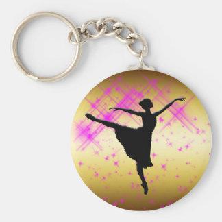BALLET DANCER SILHOUETTE BASIC ROUND BUTTON KEYCHAIN