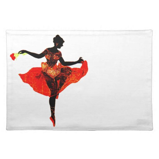 Ballet Dancer Silhouette Exotic Red Dress Vintage Cloth Placemat