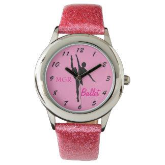 Ballet Dancer Silhouette on Pink Custom Initials Wristwatch