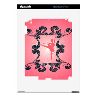 Ballet dancer silhouette on soft pink background decal for the iPad 2