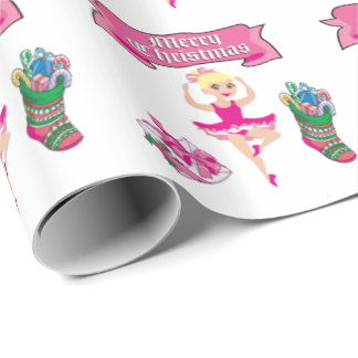 Ballet Dancer Stocking and Gift Merry Christmas Wrapping Paper
