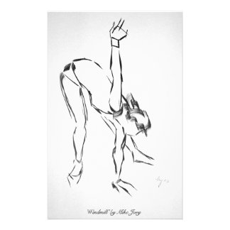 Ballet Dancer stretching painting black and white Stationery