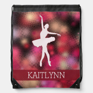 Ballet Dancer with a Bright Red Half-tone Drawstring Backpack