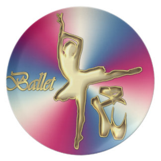 Ballet dancer with toe shoes dinner plates
