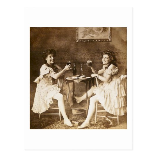 Ballet Dancers Drinking Beer - Vintage Stereoview Postcard