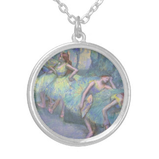 Ballet Dancers in the Wings by Edgar Degas Silver Plated Necklace