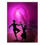 Ballet dancers pink artistic design post card