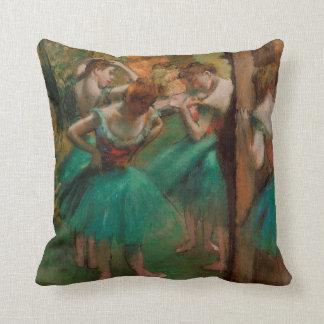 Ballet Dancers Pink & Green | Edgar Degas Throw Pillow