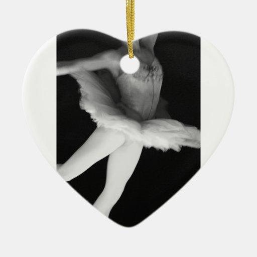 Ballet - danza - bailarina 9 - negro y blanco adorno navideño de cerámica en forma de corazón