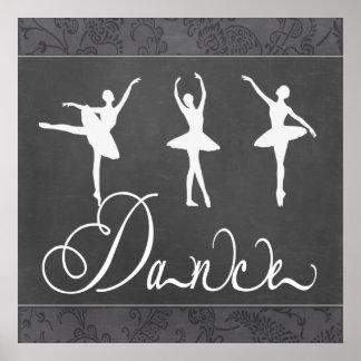 Ballet de motivación Paisley blanco y negro de la  Impresiones