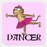 Ballet del mono pegatinas cuadradases