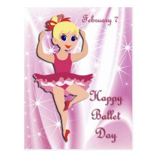 Ballet día 7 de febrero feliz tarjeta postal