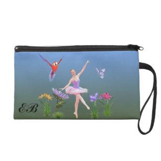 Ballet Fantasy, Flowers, Butterfly, Monogram Wristlet