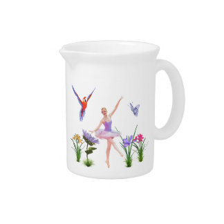 Ballet Fantasy, Flowers, Parrot, Butterfly Beverage Pitcher