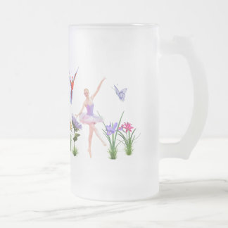 Ballet Fantasy, Flowers, Parrot, Butterfly Frosted Glass Beer Mug