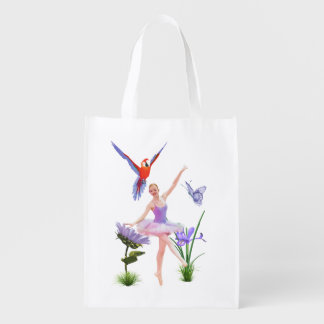 Ballet Fantasy, Flowers, Parrot, Butterfly Grocery Bag