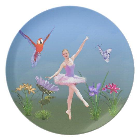 Ballet Fantasy, Flowers, Parrot, Butterfly Melamine Plate