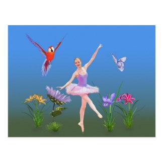 Ballet Fantasy, Flowers, Parrot, Butterfly Postcard