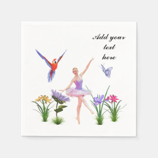 Ballet Fantasy, Flowers, Parrot, Butterfly, Text Standard Cocktail Napkin