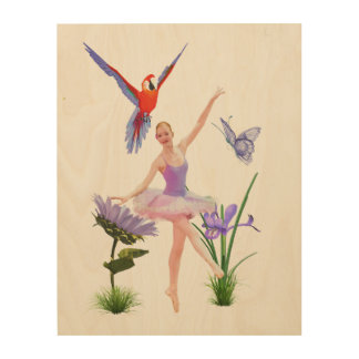 Ballet Fantasy, Flowers, Parrot, Butterfly Wood Print