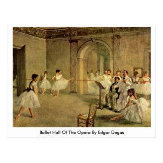 Ballet Hall Of The Opera By Edgar Degas Postcard