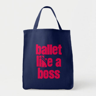 Ballet Like A Boss - Navy & Pink Grocery Tote Bag