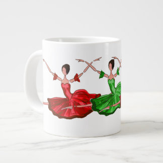 BALLET MUG, CHRISTMAS BALLERINAS IN RED AND GREEN GIANT COFFEE MUG