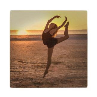 Ballet on the Beach at Sunset Wood Coaster