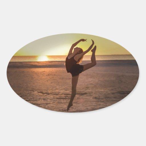 Ballet on the Beach Oval Sticker