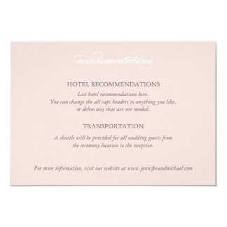 Ballet Pink Lace Wedding Accommodations Card