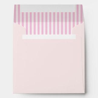 Ballet Pink with Vintage Pink White Candy Stripe Envelope