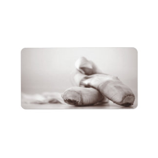 Ballet Pointe Shoes on Dance Floor Template Address Label