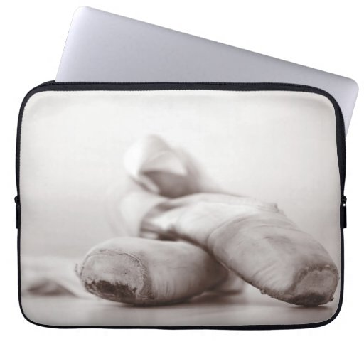 Ballet Pointe Shoes on Dance Floor Template Laptop Computer Sleeves