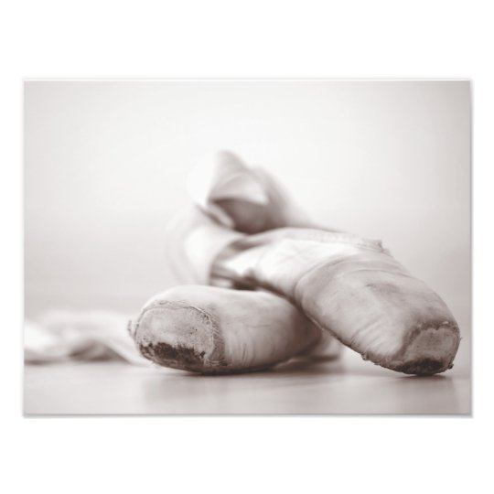 Ballet Pointe Shoes on Dance Floor Template Photo Print