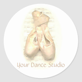Ballet Pointe Shoes Painted Personalized Classic Round Sticker