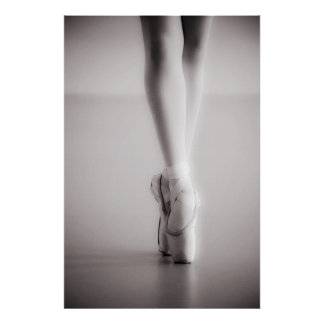 Ballet Pointe Shoes Sepia Dancing Slippers Poster